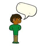antisozialer Junge der Karikatur mit Spracheblase Lizenzfreies Stockbild