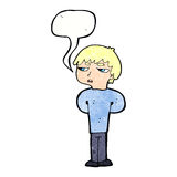 antisozialer Junge der Karikatur mit Spracheblase Stockfoto