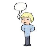 antisozialer Junge der Karikatur mit Spracheblase Stockfotos