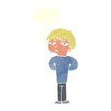 antisozialer Junge der Karikatur mit Spracheblase Lizenzfreie Stockbilder