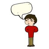antisozialer Junge der Karikatur mit Spracheblase Lizenzfreie Stockfotos
