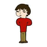 antisozialer Junge der komischen Karikatur Stockfoto
