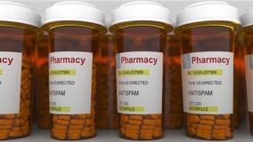 ANTISPAM-överskrift på preventivpillerreceptflaskor framförande 3d Royaltyfri Foto