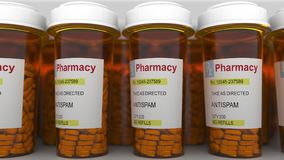 ANTISPAM titel op de flessen van het pillenvoorschrift het 3d teruggeven Royalty-vrije Stock Foto