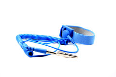 Antistatic wrist strap, ESD wrist strap. Or ground bracelet is an antistatic device used to safely ground a person working on very sensitive electronic Stock Image