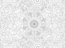 Antistress coloring book floral ornament on the whole leaf. Black lines, white background. Raster. Illustration Royalty Free Illustration