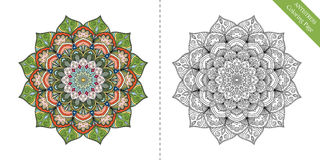 Antistress Coloring Page Mandala First. Antistress Coloring Page for adults. Flower mandala for relaxation, meditation, painting, yoga logo. Decorative round Stock Photography