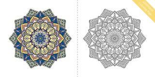 Antistress Coloring Page Mandala Seventh Stock Photos