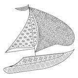 Antistress färga bok för vuxna människor och ungar med seglingyachten vektor illustrationer