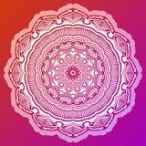 Antistress het kleuren mandala op rode achtergrond stock illustratie