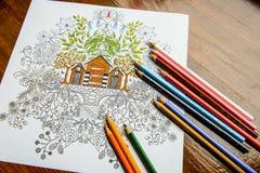 Antistress kleurend boek in het tekeningsproces stock foto's
