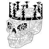 Antistress kolorystyki strona z Halloweenową złą czaszką Obrazy Stock