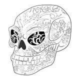 Antistress kolorystyki strona z Halloweenową złą czaszką Zdjęcia Stock