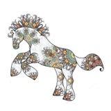 Antistress lineare Seite mit Pferd Zentangle-Tier für Farbtonbuch, Grußkarte, Mandaladekorationselement, Kunst stock abbildung