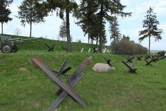 Antitank hindernissen, de lijn van Stalin in Wit-Rusland Royalty-vrije Stock Afbeelding
