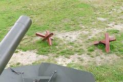Antitank obstacle on battlefield stock image