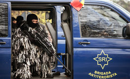 Antiterorist Unit of Romania. BUCHAREST, ROMANIA, DEC. 1: Military Parade on National Day of Romania, Arc de Triomphe, December 1, 2013 in Bucharest Stock Photo