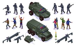 Free Antiterror Special Police Forces And Terrorists Set Isometric Icons On Isolated Background Royalty Free Stock Images - 176485559