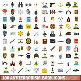 100 antiterrorism book icons set, flat style. 100 antiterrorism book icons set in flat style for any design vector illustration Royalty Free Stock Images