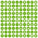 100 antiterrorism icons hexagon green. 100 antiterrorism icons set in green hexagon isolated vector illustration Stock Image