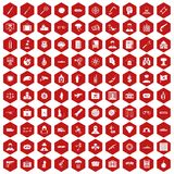 100 antiterrorism icons hexagon red. 100 antiterrorism icons set in red hexagon isolated vector illustration royalty free illustration