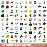 100 antiterrorism icons set, flat style. 100 antiterrorism icons set in flat style for any design vector illustration Royalty Free Stock Image