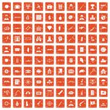 100 antiterrorism icons set grunge orange. 100 antiterrorism icons set in grunge style orange color isolated on white background vector illustration Stock Image