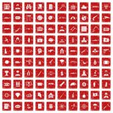 100 antiterrorism icons set grunge red. 100 antiterrorism icons set in grunge style red color isolated on white background vector illustration Royalty Free Stock Images