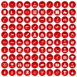 100 antiterrorism icons set red. 100 antiterrorism icons set in red circle isolated on white vector illustration Royalty Free Stock Photo