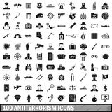 100 antiterrorism icons set, simple style. 100 antiterrorism icons set in simple style for any design vector illustration Stock Image