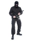 Special forces. Antiterrorist police guy wearing black uniform and black mask holding firmly police club in both hands ready for action, shot on white Royalty Free Stock Photos