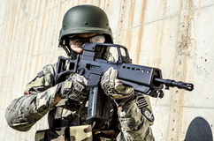 Antiterrorist training soldier. Antiterrorist cover training mask gear protection  bullet proof hand gun Stock Image