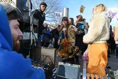 Antitroefprotest stock foto's