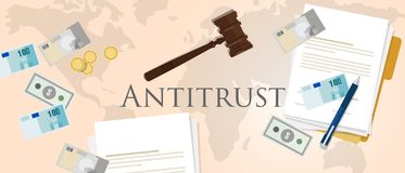 Antitrust law monopoly competition hammer paper and money market trust lawsuit Royalty Free Stock Photos