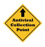 Antiviral collection point sign. Isolated on white background Stock Image