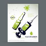 Antiviral vaccination promotion idea, brochure head page. Graphic illustration of ampoule with medicine and disposable syringe for injections to kill a virus Royalty Free Stock Image