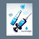Antiviral vaccination promotion idea, brochure head page. Vector. Graphic illustration of ampoule with medicine and disposable syringe for injections to kill a Stock Image