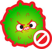 Antivirus. A dangerous green cartoon virus with a stop sign Royalty Free Stock Image