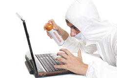 Antivirus. Spray  - desinfecting your computer concept Stock Photo