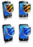 Antivirus 3D e 2D dello schermo del telefono Fotografie Stock