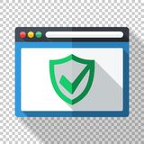 Antivirus application icon in flat style with security shield on transparent background. Antivirus application icon in flat style with security shield and long stock illustration
