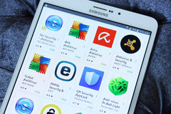Antivirus apps on google play store Stock Photos