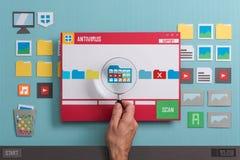 Antivirus beschermingssoftware Royalty-vrije Stock Foto's