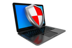 Antivirus concept. Laptop computer protected by shield Royalty Free Stock Photography