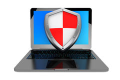 Antivirus concept. Laptop computer protected by shield. On a white background Stock Image