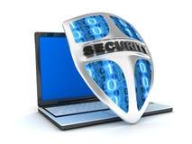 Antivirus de la computadora portátil y del blindaje Fotografía de archivo