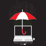 Antivirus en firewallbescherming op uw laptop Royalty-vrije Stock Foto's