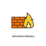 Antivirus firewall icon. Antivirus firewall. Internet security information protection outline linear icon Stock Photo