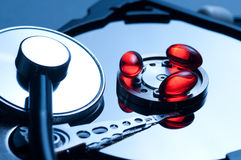 Antivirus and hard disk concept Stock Photography