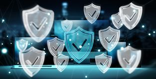 Antivirus interface over het moderne technologie-apparaten 3D teruggeven Royalty-vrije Stock Foto